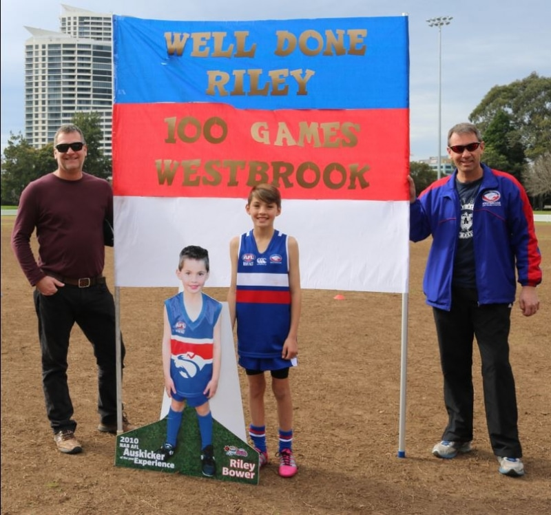 Westbrook Junior AFL Club Riley Bower 100 Games