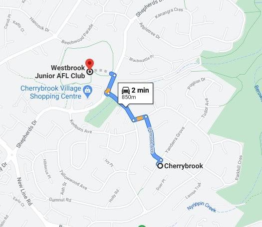Cherrybrook Junior AFL Club Sydney map