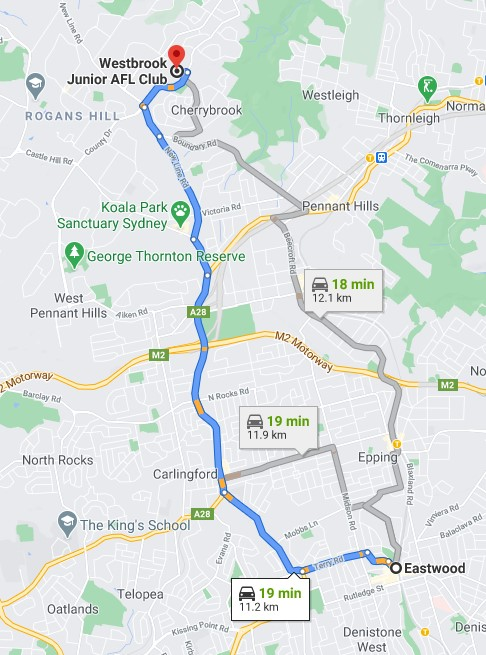 Eastwood Junior AFL Club Sydney map