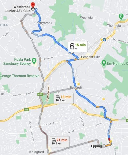 Epping Junior AFL Club Sydney map