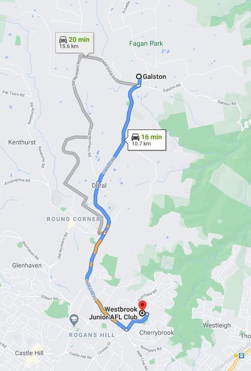 Galston Junior AFL Club Sydney map