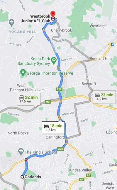 Oatlands Junior AFL Club Sydney map