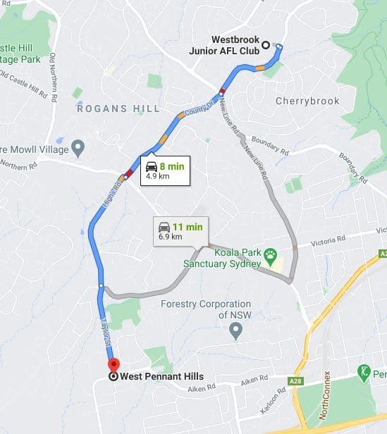 West Pennant Hills Junior AFL Club Sydney map